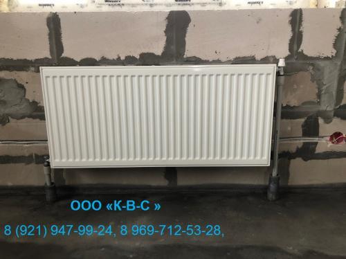 Установка радиатора в частном доме (процесс стройки)